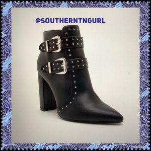 Just In 5⭐️Studded Buckle LEATHER Heeled Bootie⭐️